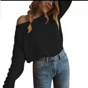 Cozy off shoulder oversized cropped ribbed sweater